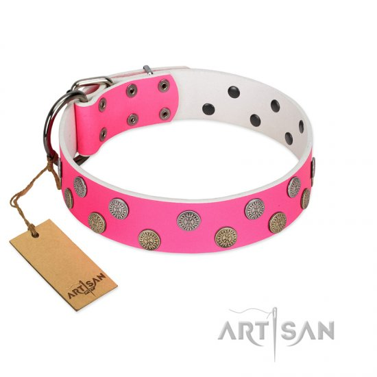 """Lucky Pink"" Designer FDT Artisan Pink Leather Belgian Malinois Collar with Medallions"