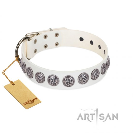 """Bohemian Spirit"" Handmade FDT Artisan White Leather Belgian Malinois Collar with Vintage Decorations"