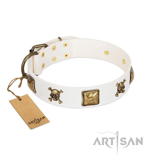 """Glo Up"" FDT Artisan White Leather Belgian Malinois Collar with Skulls and Crossbones Combined with Squares"