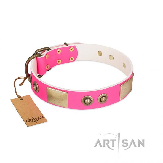 """Pink Splash"" FDT Artisan Soft Leather Belgian Malinois Collar with Bronze-like Plates and Medallions"
