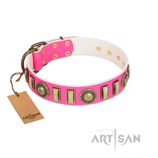 """La Femme"" FDT Artisan Pink Leather Belgian Malinois Collar with Ornate Brooches and Small Plates"