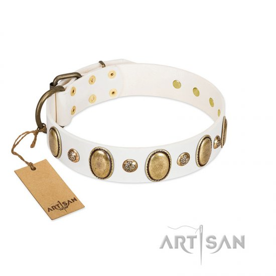 """Milky Lagoon"" FDT Artisan White Leather Belgian Malinois Collar with Vintage Looking Oval and Round Adornments"