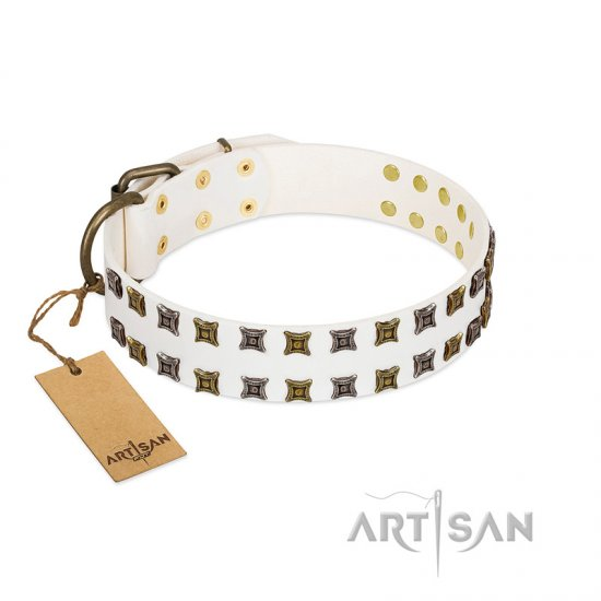 """Ice Peak"" FDT Artisan White Leather Belgian Malinois Collar with Silvery and Goldish Decorations"