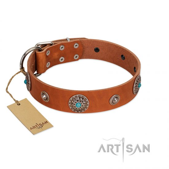 """Marine Antiques"" Handmade FDT Artisan Tan Leather Belgian Malinois Collar with Blue Stones"