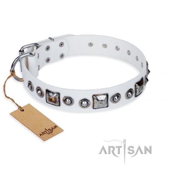 """Lustre of Fame"" FDT Artisan White Studded Leather Belgian Malinois Collar"