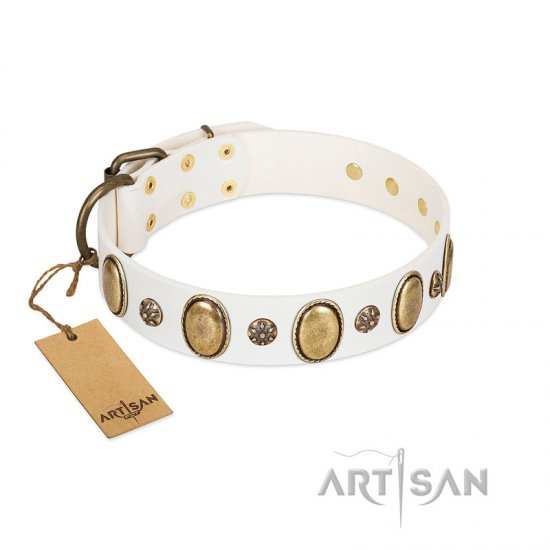 """Nifty Doodad"" FDT Artisan White Leather Belgian Malinois Collar with Amazing Large Ovals and Small Studs"
