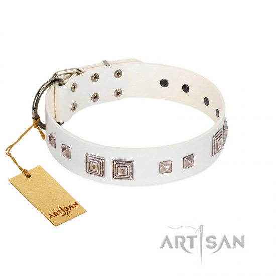 """Pure Quadratic"" Designer Handmade FDT Artisan White Leather Belgian Malinois Collar"