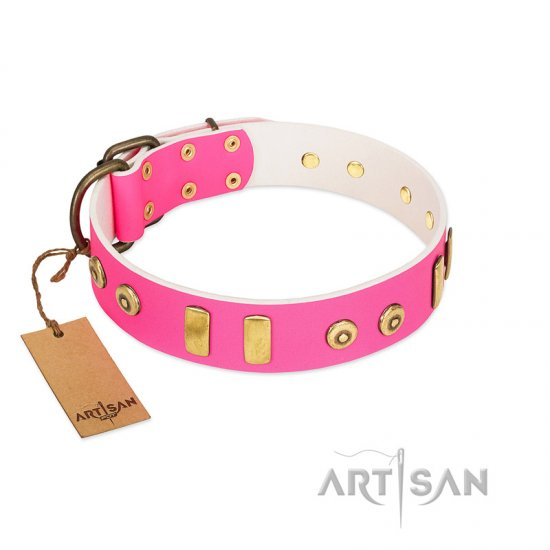 """Prim'N'Proper"" Handmade FDT Artisan Pink Leather Belgian Malinois Collar with Old Bronze-like Dotted Studs and Tiles"