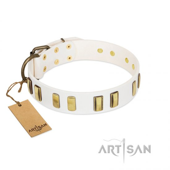 """Glorious Light"" FDT Artisan White Leather Belgian Malinois Collar with Old Bronze-like Plates"