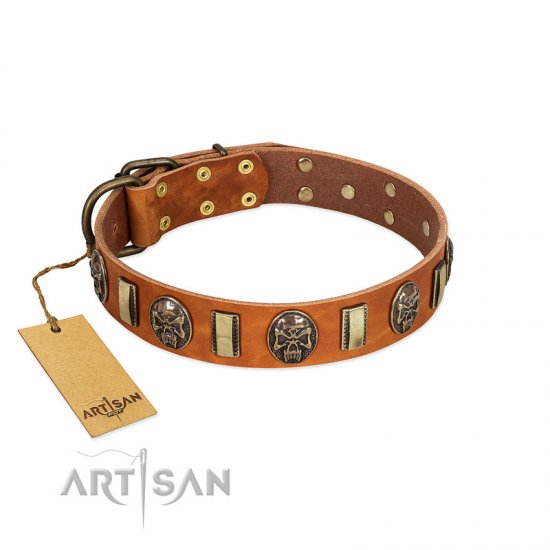 """Strike of Rock"" FDT Artisan Tan Leather Belgian Malinois Collar with Plates and Medallions with Skulls"