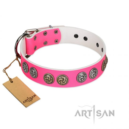 """Pink Butterfly"" Designer FDT Artisan Pink Leather Belgian Malinois Collar with Round Studs"