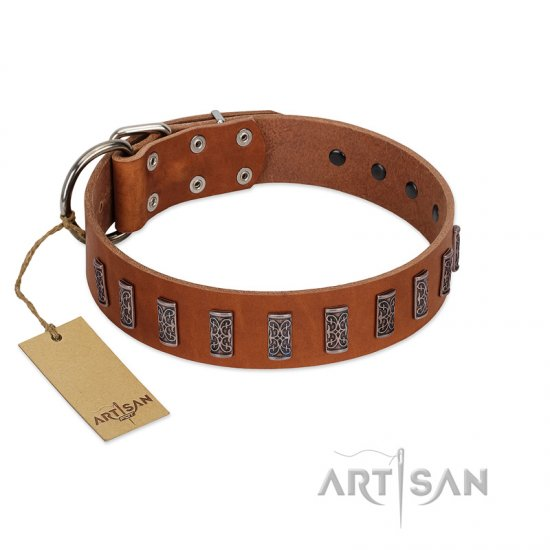 """Silver Century"" Fashionable FDT Artisan Tan Leather Belgian Malinois Collar with Silver-Like Plates - Click Image to Close"