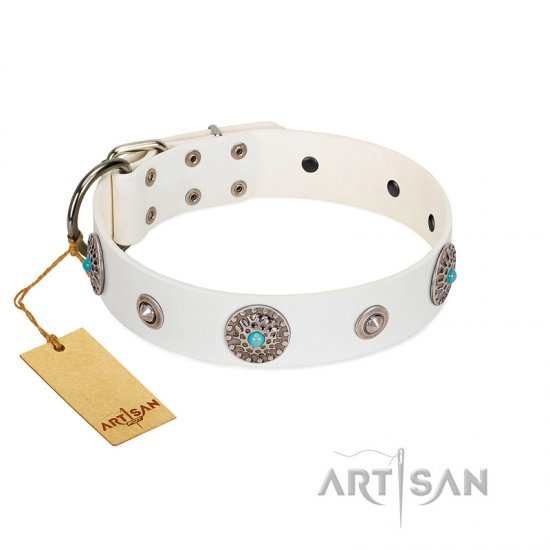 """Lush Life"" Designer Handcrafted FDT Artisan White Leather Belgian Malinois Collar with Blue Stones"