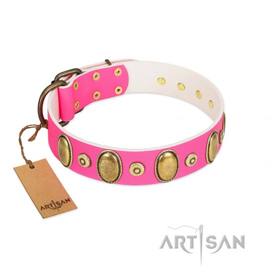 """Drawing Power"" FDT Artisan Pink Leather Belgian Malinois Collar with Engraved Ovals and Dotted Studs"