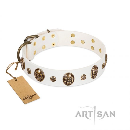 """Magic Bullet"" FDT Artisan White Leather Belgian Malinois Collar with Studs and Skulls"