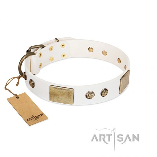 """Pure Elegance "" FDT Artisan White Decorated Leather Belgian Malinois Collar - 1 1/2 inch (40 mm) wide"