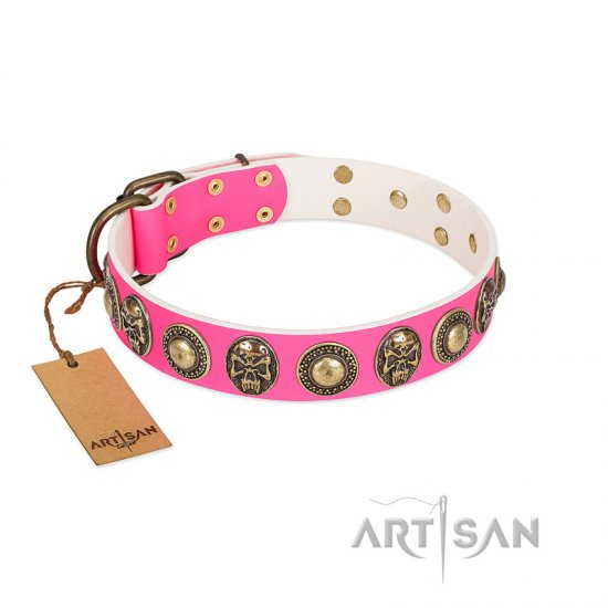 """Two Extremes"" FDT Artisan Pink Leather Belgian Malinois Collar with Elegant Conchos and Medallions with Skulls"