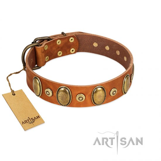 """Crystal Sand"" FDT Artisan Tan Leather Belgian Malinois Collar with Vintage Looking Oval and Round Studs"