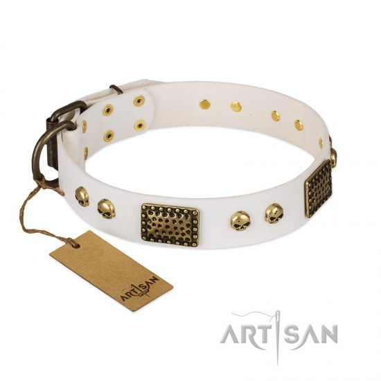 """Lost Treasures"" FDT Artisan White Leather Belgian Malinois Collar with Old Bronze Look Plates and Skulls"
