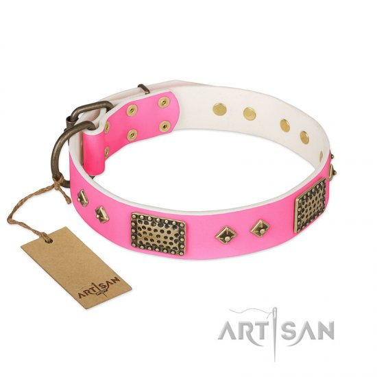 """Frenzy Candy"" FDT Artisan Decorated Pink Leather Belgian Malinois Collar"