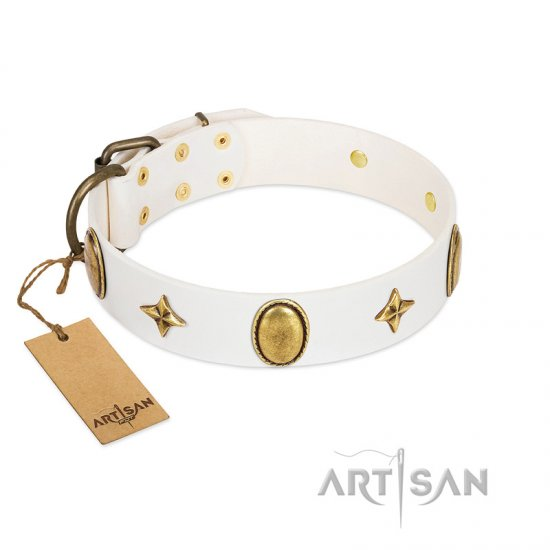 """Hollywood Star"" FDT Artisan White Leather Belgian Malinois Collar with Ovals and Stars - 1 1/2 inch Wide"