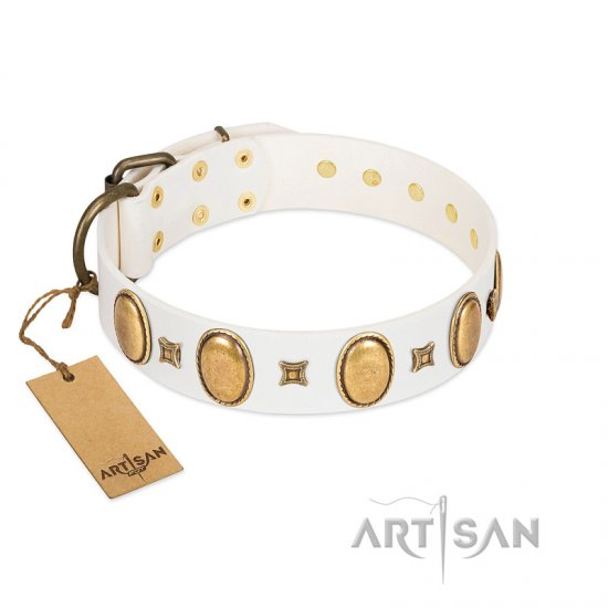 """Chichi Pearl"" Designer Handmade FDT Artisan White Leather Belgian Malinois Collar with Ovals and Studs"