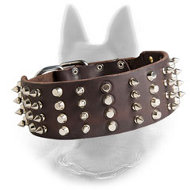 Extra Wide Leather Belgian Malinois Collar 4 Rows Decoration