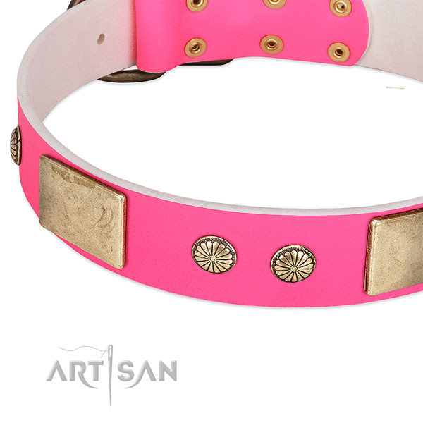 Durable buckle on full grain leather dog collar for your dog