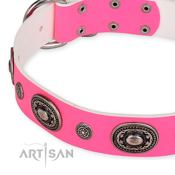 Natural genuine leather dog collar with trendy corrosion resistant adornments