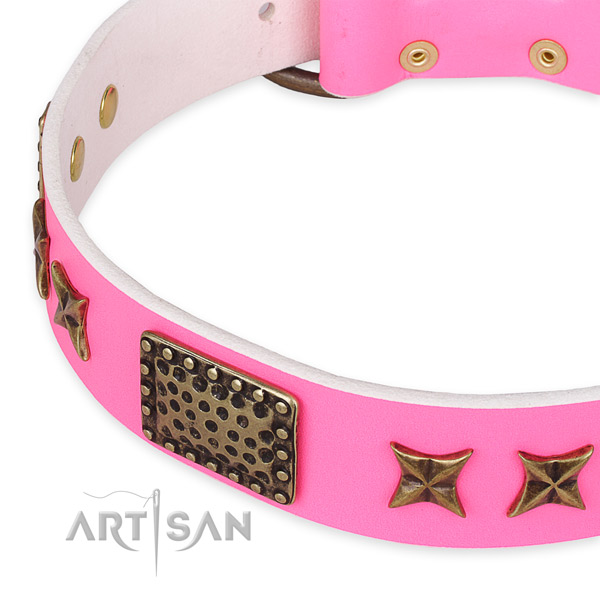 Full grain natural leather collar with strong buckle for your handsome dog