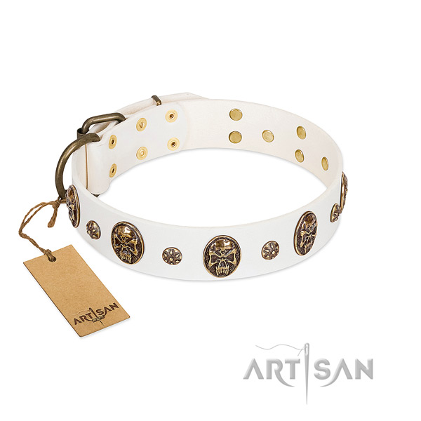 Decorated full grain leather collar for your dog