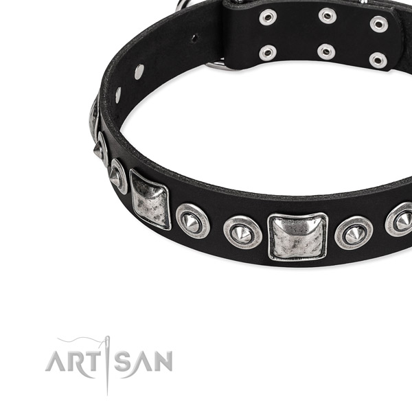 Full grain leather dog collar made of quality material with adornments