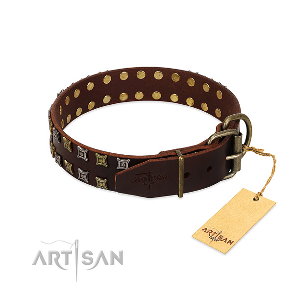 Soft genuine leather dog collar handcrafted for your pet