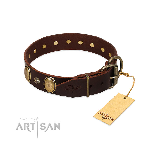 Easy wearing flexible full grain genuine leather dog collar
