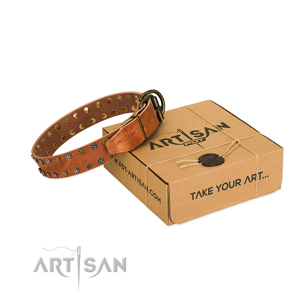 Comfortable wearing high quality full grain genuine leather dog collar with studs
