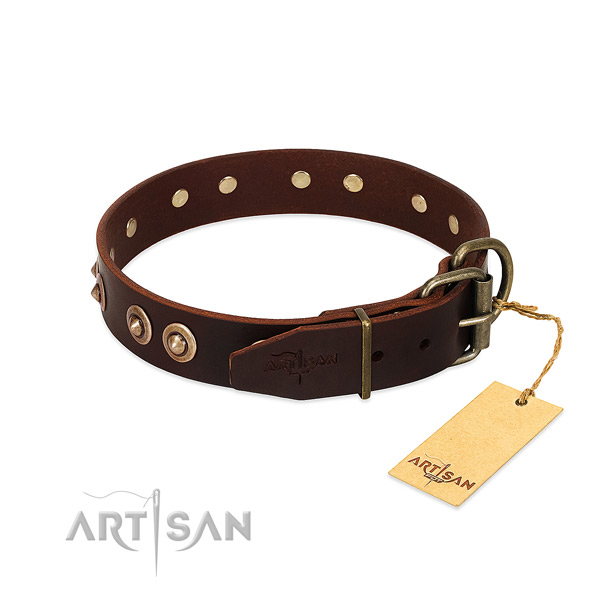 Durable D-ring on natural genuine leather dog collar for your dog