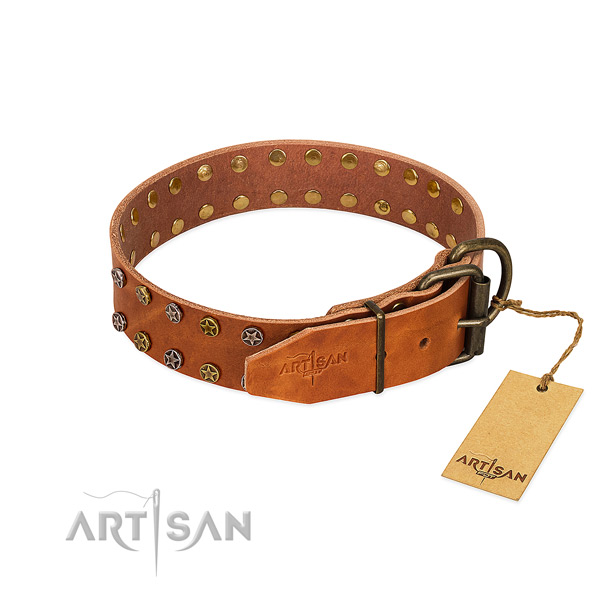 Easy wearing natural leather dog collar with amazing studs