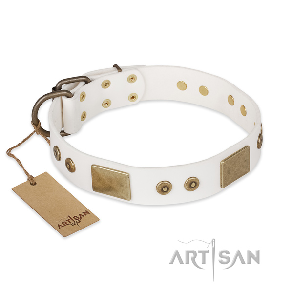 Fine quality genuine leather dog collar for comfy wearing
