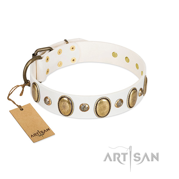 Full grain genuine leather dog collar of high quality material with significant embellishments