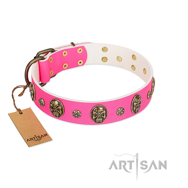 Embellished leather dog collar for everyday use