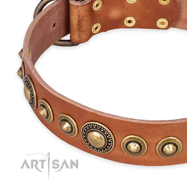 Quality natural genuine leather dog collar made for your attractive pet