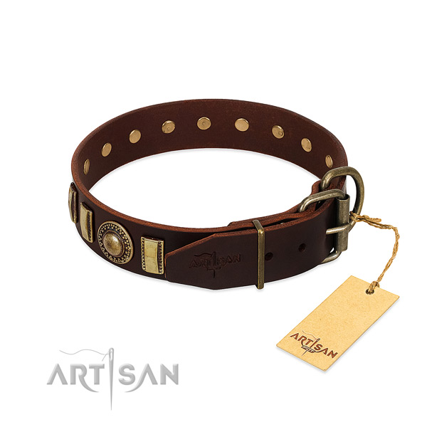 Awesome full grain genuine leather dog collar with rust-proof traditional buckle
