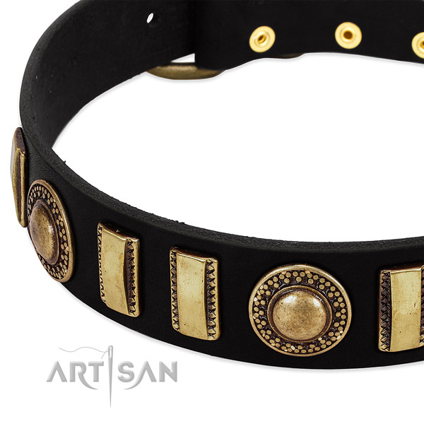 Soft leather dog collar with durable buckle