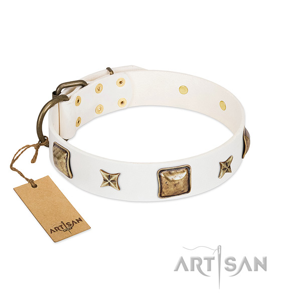 Convenient leather dog collar for comfy wearing