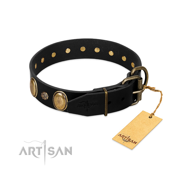 Handy use quality full grain leather dog collar
