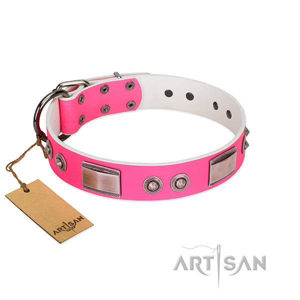Handcrafted full grain genuine leather collar with decorations for your dog