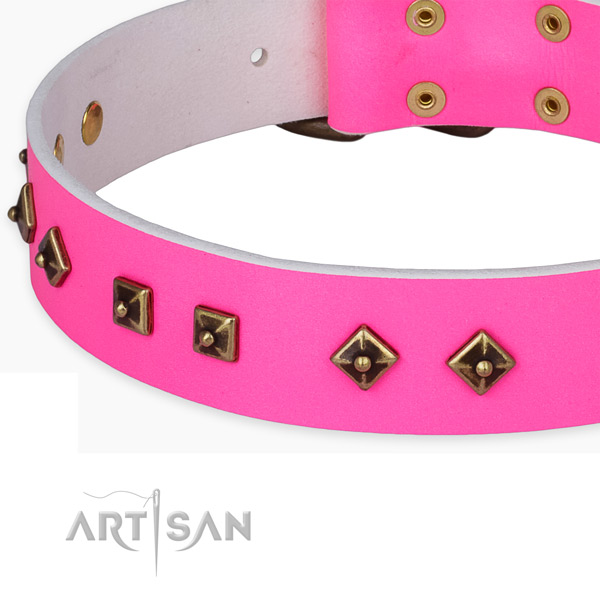 Fine quality full grain natural leather collar for your attractive pet