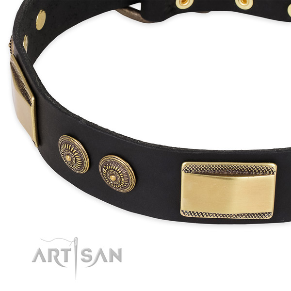Easy adjustable natural genuine leather collar for your beautiful four-legged friend