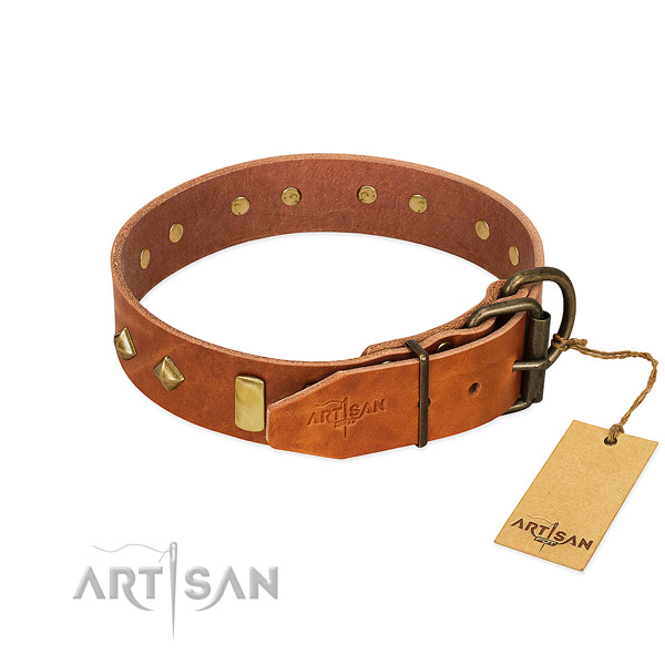 Comfortable wearing full grain genuine leather dog collar with stylish studs