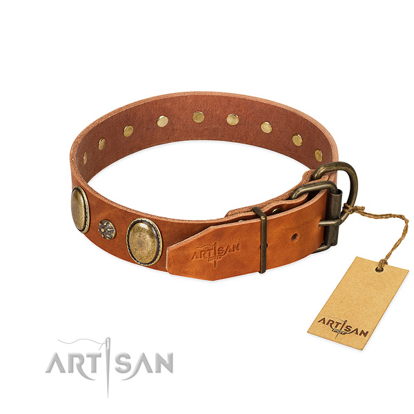 Daily use soft genuine leather dog collar